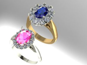 We designed these sapphire rings on the computer-aided design program, Matrix 8.