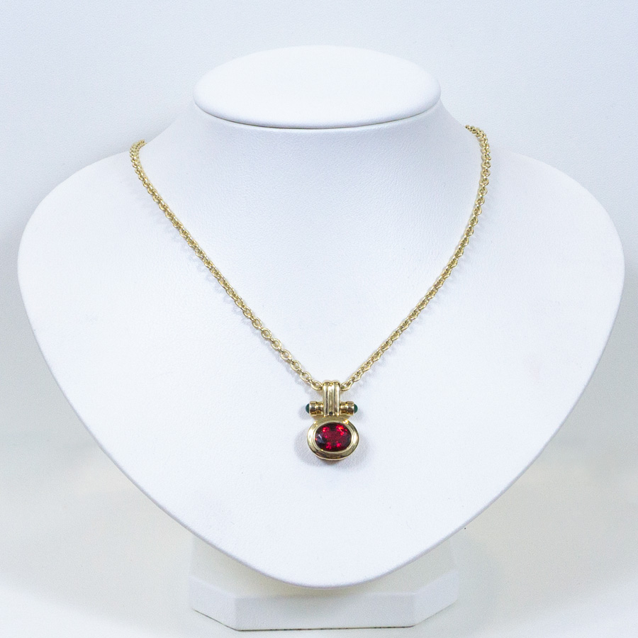 Image of Red Spinel Necklace with Emerald Accents