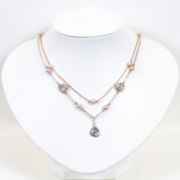 Image of Rose Gold and Sterling Silver Double Necklace