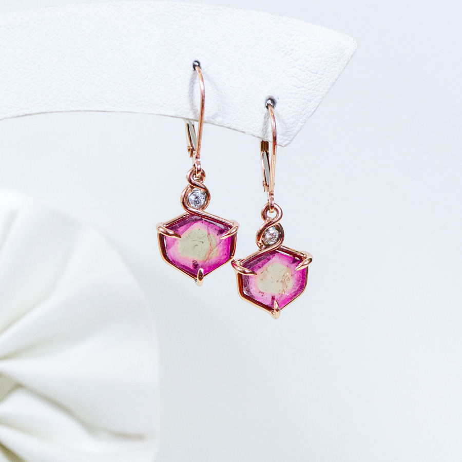 Image of Rose Gold Pink Tourmaline Earrings