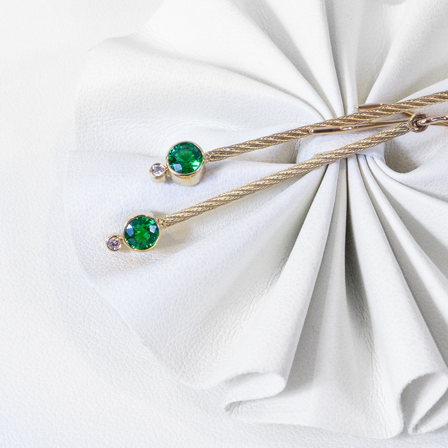 Image of Tsavorite and Diamond Drop Earrings